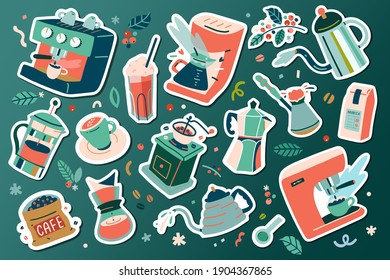Coffee sticker set, barista tools, coffee mug and cup, grinder and roasted coffee beans. Coffee machine makers for various ways of brewing and preparing espresso, cold brew, cappucino macchiato