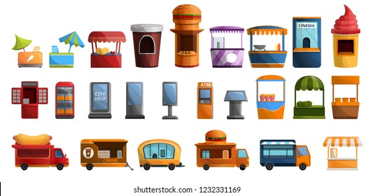 Coffee street stall kiosk icon set. Cartoon set of coffee street stall kiosk vector icons for web design