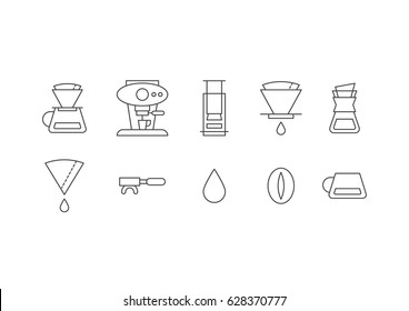 Coffee style preparation like a filtered coffee, espresso etc. icon set