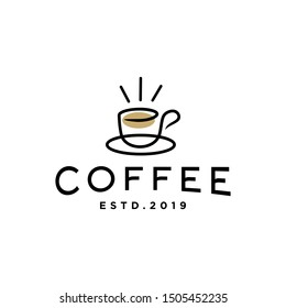 coffee sunrise sunset tea morning line outline logo with mug and cup also sun hipster logo icon design for cafe , restaurant cafetaria illustration