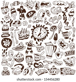 coffee and sweets - doodles collection