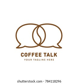 Coffee Talk Logo Design Template. Creative Concept for Coffeeshop Business.