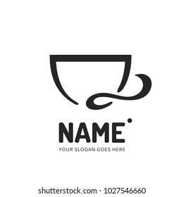 Coffee and tea cup logotype. Vector template logo design. Business concept icon.