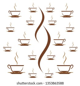 coffee, tea cup pattern background