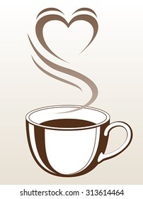 Coffee or Tea Cup With Steaming Heart Shape is an illustration with a cup of coffee or tea with steam coming off of it making the shape of a heart.