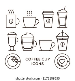 Coffee and tea cups linear icons set. Disposable coffee cup and hot drink mug vector symbols. Coffee shop design elements. Cafe and restaurant corporate identity. Coffee house outline web pictograms.