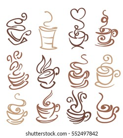 coffee and tea cups symbols isolated on white. vector illustration