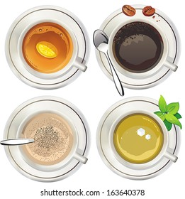 Coffee and tea cups. Vector illustration.