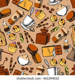 Coffee, tea, desserts and sweets seamless background. Wallpaper with sketch pattern of coffee mill, beans, tea cup, chocolate, muffin, cupcake, biscuit candy cookie