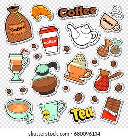 Coffee and Tea Doodle. Hot Drinks with Sweet Food Stickers, Patches and Badges. Vector illustration