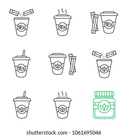 Coffee and tea drinks with sugar  linear icons set. Detox herbs and cocktails. Thin line contour symbols. Isolated vector outline illustrations