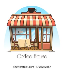 Coffee or tea house building. Signboard in thin line for coffeehouse or teahouse. Bistro or cafe entrance with tent. Outdoor or exterior view on building or cafeteria facade. Architecture, drink shop