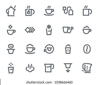 Coffee and Tea icons in bold outline style. Contains icons like Coffee Cup, Latte Macchiato and Water Cooker. These vector icons will look great in any user interface design. Pixel perfect at 64x64.