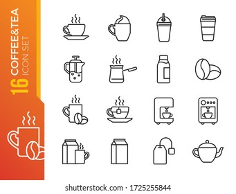 Coffee and Tea line icons. Cappuccino, Teapot and Coffeepot. Coffee beans linear icon set. Quality line set.