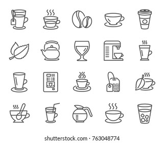 Coffee and Tea line icons. Set of Cappuccino, Juice with ice and Latte signs. Teapot, Coffeepot and Hot drink with Steam. Mint leaf, Herbal beverage and Vending symbols. Vector