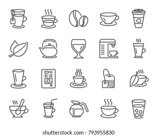 Coffee and Tea line icons. Set of Cappuccino, Juice with ice and Latte signs. Teapot, Coffeepot and Hot drink with Steam. Mint leaf, Herbal beverage and Vending symbols. Quality design elements