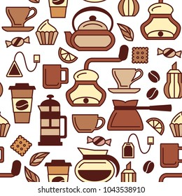 Coffee and tea seamless pattern. Colored icons on white background. Flat style vector illustration. Suitable for wallpaper, wrapping or textile