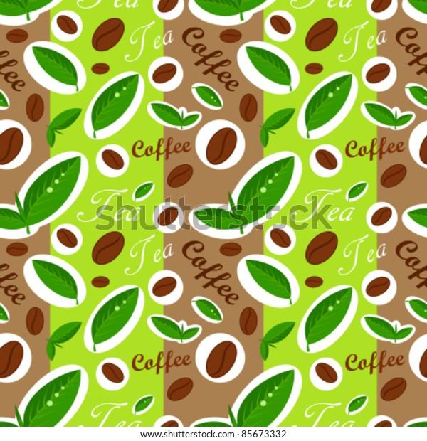 Coffee and tea seamless pattern. Vector illustration
