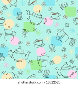 Coffee & Tea Seamless Repeat Pattern Vector Illustration