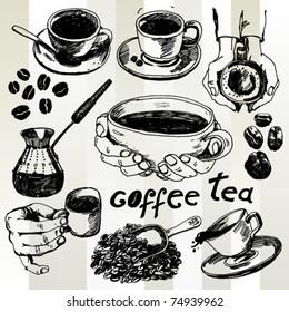 Coffee and Tea Set Hand Drawn