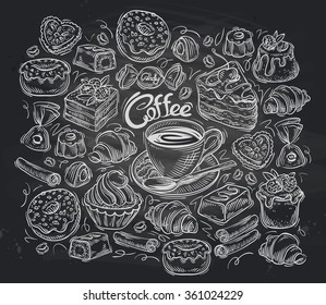 Coffee and tea set of vector elements hand-drawn