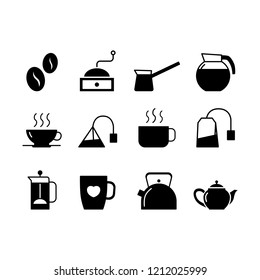 Coffee and tea simple flat style vector icon.