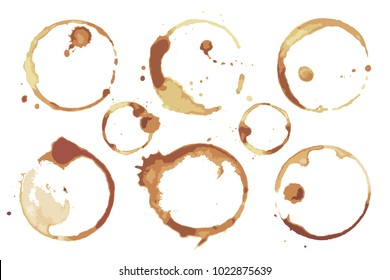 Coffee and tea stains left by cup bottoms set. Round dirty imprints from hot drinks isolated stained cartoon flat vector illustrations on white background.
