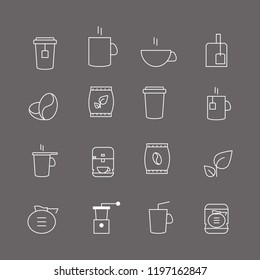 Coffee and tea thin line icons set isolated on gray background. Trendy icons for web site, app, logo and restaurant menu. Collection of modern coffe and tea icons for print materials