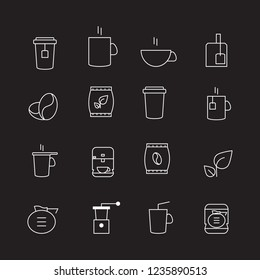 Coffee and tea thin line icons set isolated on black background. Trendy icons for web site, app, logo and restaurant menu. Collection of modern coffe and tea icons for print materials