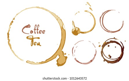 Coffee and tea traces, stains, ring, circle. Brown blemishes, strips, puddles. Circle on the desk or glass. Vector illustration. Isolated