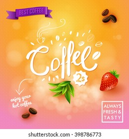 Coffee text, leaves, fruit and other objects over orange and pink background