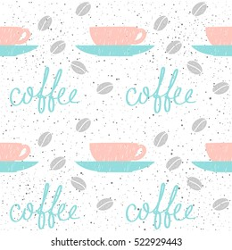 Coffee theme. Doodle handmade sketch coffee cup seamless background. Hand drawn coffee letters.