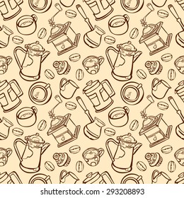 Coffee. Coffee theme. Set number two. Desserts. Vector seamless illustration with image of coffee, coffee pots, coffee cups, cake, coffee beans, coffee stains. Bright picture. Hot invigorating drink.