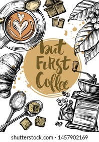 coffee theme for your project, croissant, latte, coffee beans