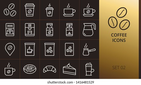 Coffee thin icons set on dark background. Set of hot coffee in paper cup, coffee pot, instant coffee pack, shop location, bakery, espresso cup, cafe linear icons