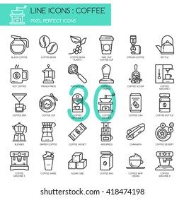 Coffee , Thin Line and Pixel Perfect Icons