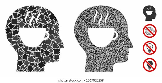 Coffee thinking composition of unequal parts in various sizes and color tinges, based on coffee thinking icon. Vector unequal parts are united into collage.