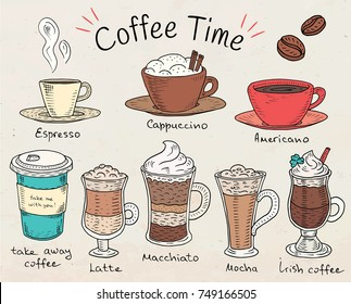 Coffee time. Beautiful illustration of types of coffee. Espresso, cappuccino, american, takeaway, latte, mocha, irish coffee