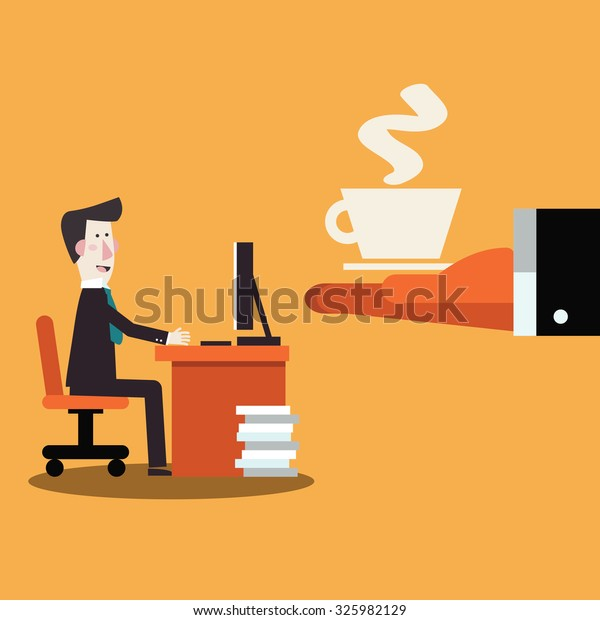 Coffee time, break and relaxation vector concept. Boss offering coffee to his employee.  Modern design vector style