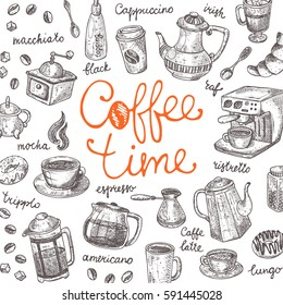 Coffee time concept. Lettering card. Hand drawn vector illustration. Maker, cup, pot, mug, donut, croissant, grinder, sugar, mill and other. Can be used for menu, bar, shop, cafe, restaurant, placard.