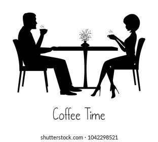 Coffee time concept. There are silhouettes of man and woman during coffee time. A young man and a young woman are sitting at a table and drinking coffee. Vector illustration in black-and-white tones