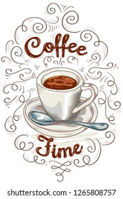 Coffee time - cup of coffee advertising poster