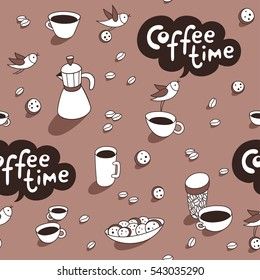 Coffee time. Coffee cups, cute birds, coffeepot, cookies, coffee beans graphic elements. Vector seamless pattern. Cartoon hand drawn style. Wrapping, package, textile. Perfect for coffee shop design.