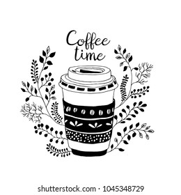 Coffee time. Cute coffe  takeaway cup with floral decor. Hand draw doodle illustration. Spring mood.