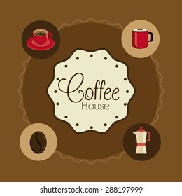 Coffee time design over brown background, vector illustration.
