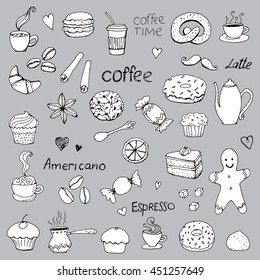 Coffee time, doodle drawing, vector symbols, a collection of elements on a gray background
