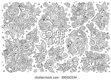 Coffee time doodles hand drawn sketchy vector symbols and objects