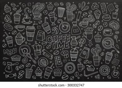 Coffee time doodles hand drawn chalkboard vector symbols and objects
