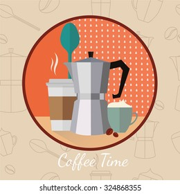 Coffee time. Geyser coffee maker,Cup,Spoon,Plastic coffee cup,Coffee Beans.Seamless Pattern. Cute coffee time card. Menu for restaurant, cafe, bar, coffee-house. vector illustration