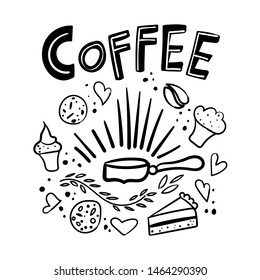 Coffee time hand drawn lettering composition with doodle style elements (cakes, biscuits, donut, cupcakes, cups). Vector illustration for menu, poster design